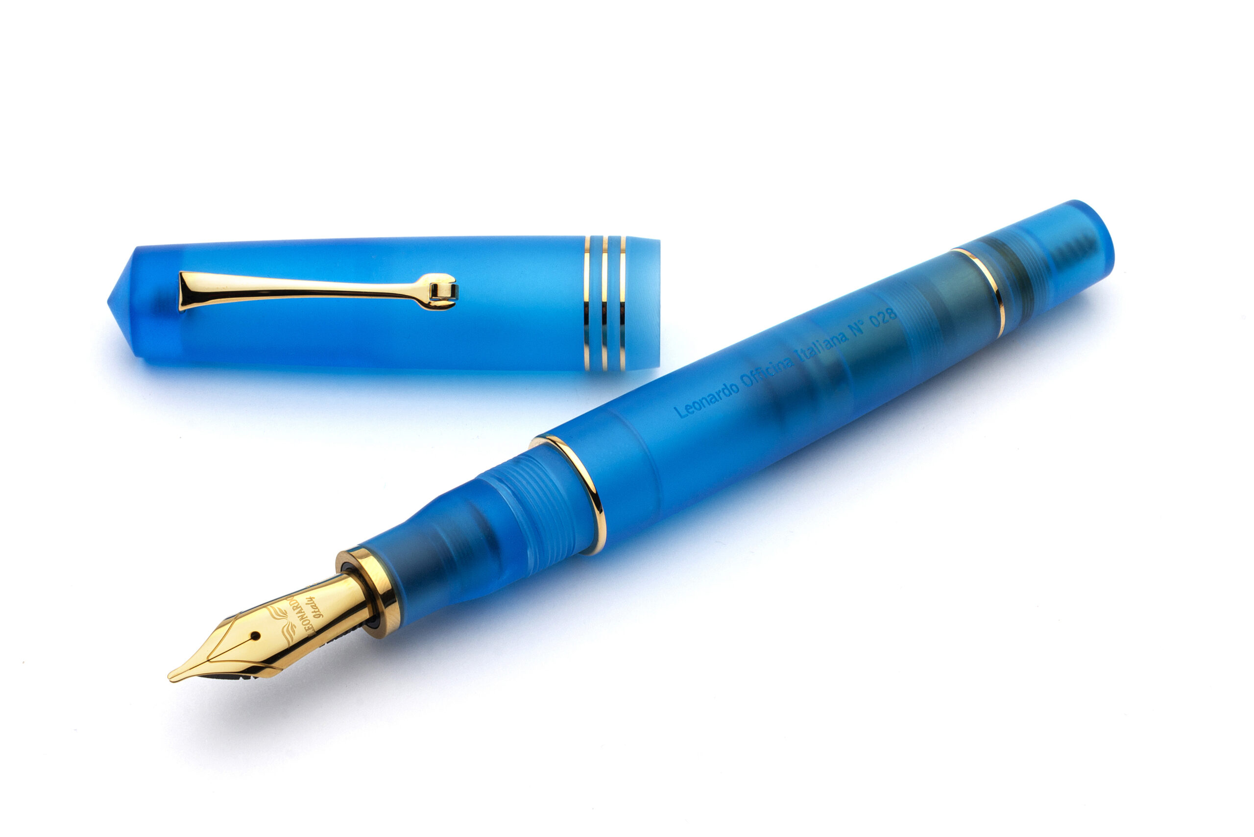 Fine Point Kaweco Sport Transparent Fountain Pen in Classic Blue with Gold Trim